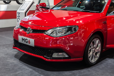 motor launch: Nonthburi,Thailand - March 26th, 2015: New launch MG6,a mid-size car produced by MG Motor,showed in Thailand the 36th Bangkok International Motor Show on 26 March 2015 Editorial