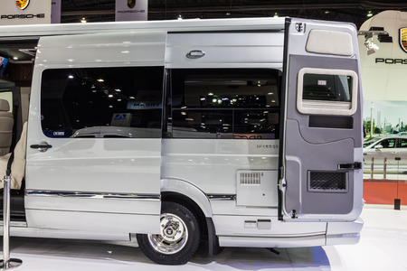 airstream: Nonthaburi,Thailand - March 26th, 2015: Side of Benz Airstream Interstate Ext, a perfect for travelers in search of versatility and space,showed in Thailand the 36th Bangkok International Motor Show on 26 March 2015 Editorial