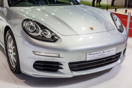 fuel economy: Nonthaburi,Thailand - March 26th, 2015: Porsche Panamera Se Hybrid, a plug-in hybrid that promises unsurpassed fuel economy and emissions,showed in Thailand the 36th Bangkok International Motor Show on 26 March 2015
