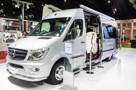 airstream: Nonthaburi,Thailand - March 26th, 2015: Benz Airstream Interstate Ext, a perfect for travelers in search of versatility and space,showed in Thailand the 36th Bangkok International Motor Show on 26 March 2015 Editorial