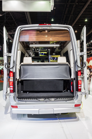 airstream: Nonthaburi,Thailand - March 26th, 2015: Rear space of Benz Airstream Interstate Ext, a perfect for travelers in search of versatility and space,showed in Thailand the 36th Bangkok International Motor Show on 26 March 2015