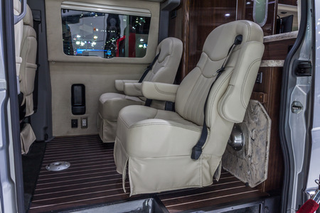 airstream: Nonthaburi,Thailand - March 26th, 2015: Inside of Benz Airstream Interstate Ext, a perfect for travelers in search of versatility and space,showed in Thailand the 36th Bangkok International Motor Show on 26 March 2015