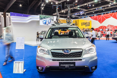 forester: Nonthaburi,Thailand - March 26th, 2015: Subaru Forester,an SUV disigned with comfort and versatility in mind,showed in Thailand the 36th Bangkok International Motor Show on 26 March 2015