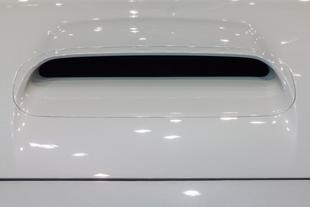 engine bonnet: Nonthaburi,Thailand - March 26th, 2015: Scoop at bonnet of Subaru WRX,showed in Thailand the 36th Bangkok International Motor Show on 26 March 2015