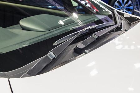 wiper: Close up cars windshield rain wiper