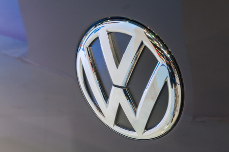 Nonthaburi,Thailand - March 26th, 2015: Close up logo of Volkswagen ,showed in Thailand the 36th Bangkok International Motor Show on 26 March 2015