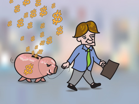 money falling: Money falling in hole on back of pink piggy bank Illustration