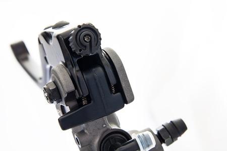 palanca: Recambio de palanca motocicleta negro aislado en blanco Foto de archivo