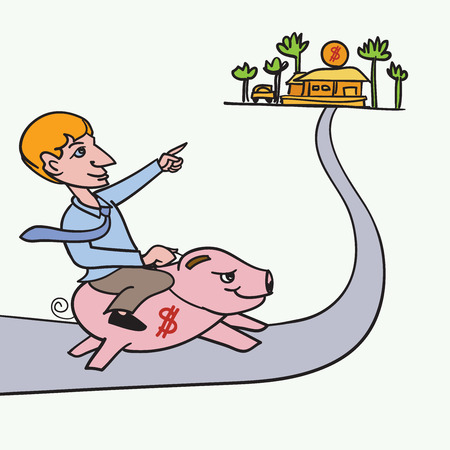 leading the way: Man riding piggybank heading to his goal ,Concept for saving money for wealth Illustration