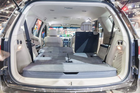 mpv: Nonthaburi,Thailand - March 26th, 2015: Inside of Chevrolet Spin,a mini MPV on display ,showed in Thailand the 36th Bangkok International Motor Show on 26 March 2015