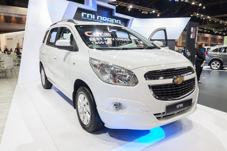 mpv: Nonthaburi,Thailand - March 26th, 2015: Chevrolet Spin,a mini MPV on display ,showed in Thailand the 36th Bangkok International Motor Show on 26 March 2015
