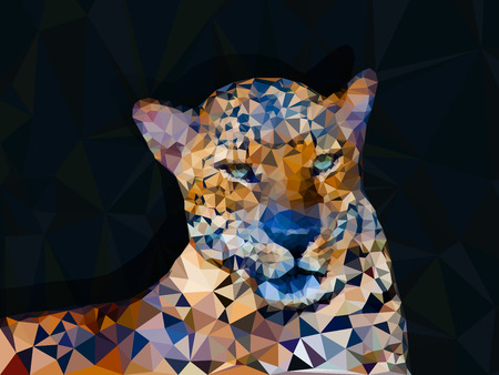 leopard: Low poly geometric of leopard, triangular shape mosaic on dark background