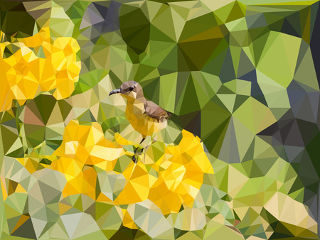 little bird: Low poly geometric of little bird on yellow flower and green leaf background,vector illustration