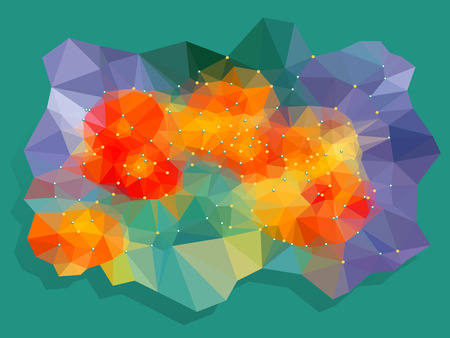 canlı renkli: Abstract vivid color polygonal background, Vector illustration triangular style Çizim