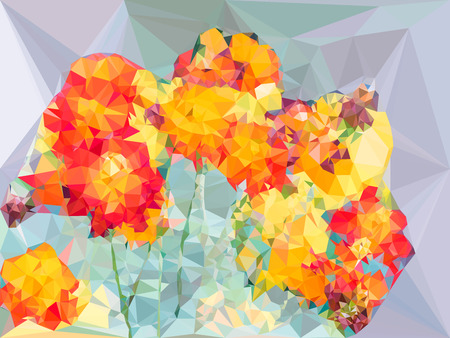 cosmos flower: Abstract vivid color polygonal background,cosmos flower shape, Vector illustration triangular style
