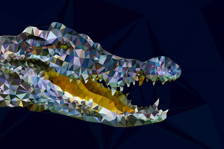 Low poly gemotric of crocodile head on dark blue background Vector