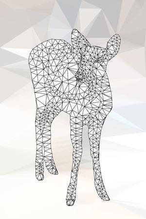 triangular shape: Line poly geometric of deer,vector line triangular shape
