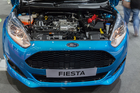 showed: Nonthaburi,Thailand - March 26th, 2015: Ford Fiesta showed engine on display,showed in Thailand the 36th Bangkok International Motor Show on 26 March 2015