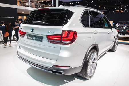 showed: Nonthaburi,Thailand - March 26th, 2015: Rear of BMW X5 eDrive on display ,showed in Thailand the 36th Bangkok International Motor Show on 26 March 2015 Editorial