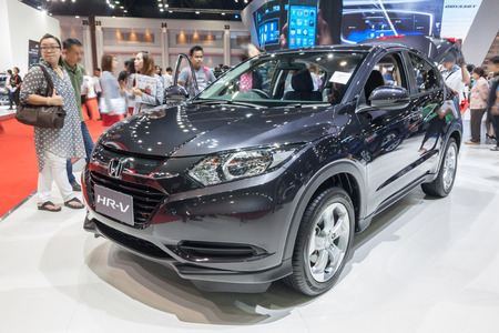 showed: Nonthaburi,Thailand - March 26th, 2015: Honda HR-V on display,showed in Thailand the 36th Bangkok International Motor Show on 26 March 2015