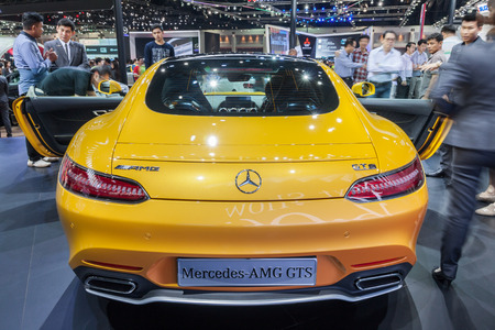 Nonthaburi,Thailand - March 26th, 2015: Rear of of Mercedes AMG GTS on display,showed in Thailand the 36th Bangkok International Motor Show on 26 March 2015