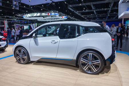 i3: Nonthaburi,Thailand - March 26th, 2015: Side of BMW i3 on display,showed in Thailand the 36th Bangkok International Motor Show on 26 March 2015