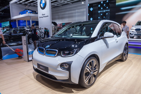 i3: Nonthaburi,Thailand - March 26th, 2015: BMW i3 on display,showed in Thailand the 36th Bangkok International Motor Show on 26 March 2015