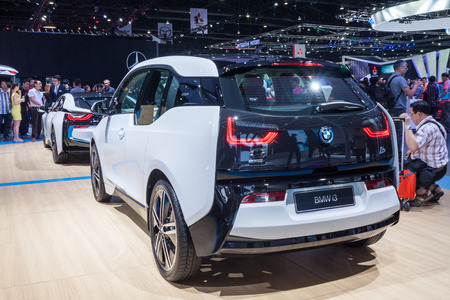 i3: Nonthaburi,Thailand - March 26th, 2015: Rear of BMW i3 on display,showed in Thailand the 36th Bangkok International Motor Show on 26 March 2015