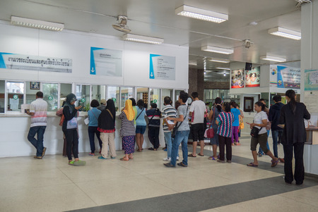 Bangok, Thailand - 9 Feb,2015 :People stand in line at medical records department at Hatyai hospital, Songkhla on 9 Feb 2015
