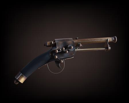 realist: Old vintage gun on dark brown background,vector illustration