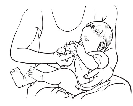 baby hand: Drawing of father feeding baby with milk in bottle by holding in hand
