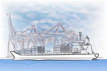 port: Drawing of loading cargo ship at terminal port