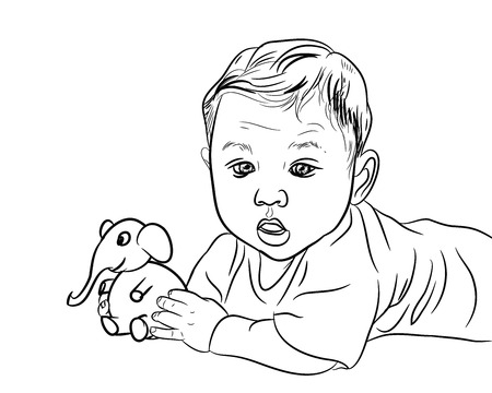 baby playing toy: Drawing of male baby playing elephant toy on white