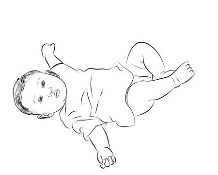 Dessin de bébé couché avec le retournement face vers le haut sur fond blanc