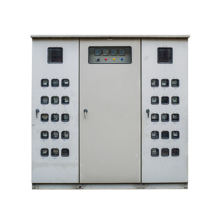 electric meter: Electric meter cabinet on white background Stock Photo