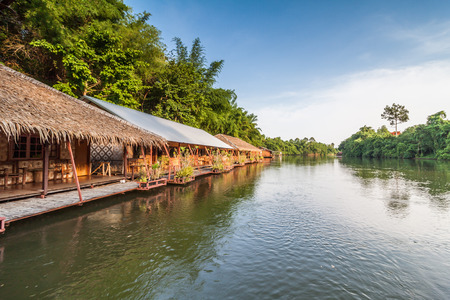 raft: Raft resort at Kwai noi river,Kanchanaburi Thailand Stock Photo