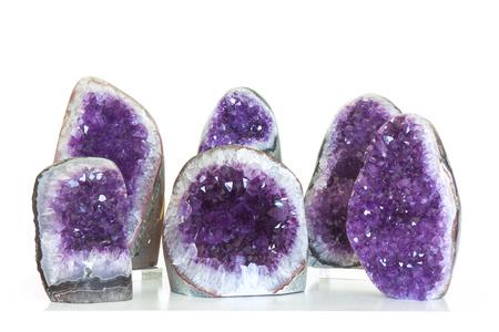 amethyst rough: Set of amethyst crystal,semiprecious gem, on white background