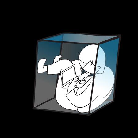 L'uomo di lavoro, utilizzando il computer portatile in piccola scatola, concetto foy lavoro di una vita nawaday in spazio stretto Archivio Fotografico - 46512446