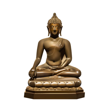 mara: Statue of Buddha Subdoing Mara on white background