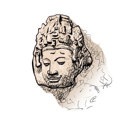 bodhisattva: Drawing head of Bodhisattva with long shadow on white background Illustration