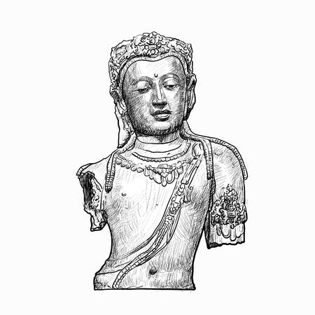 bodhisattva: Drawing bust of Bodhisattva Avalokiteshvara on white background Illustration
