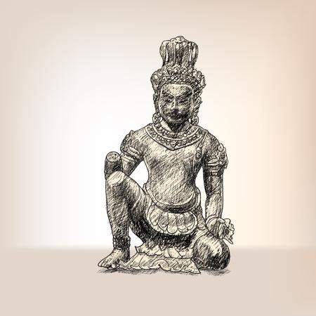 신성한 건축가 비슈 바르 만 (Vishvakaman)의 그림
