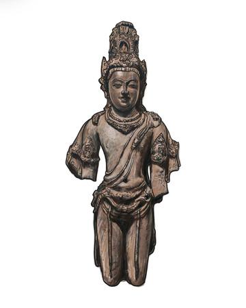 bodhisattva: Drawing of Bodhisattva Avalokiteshvara statue on white background