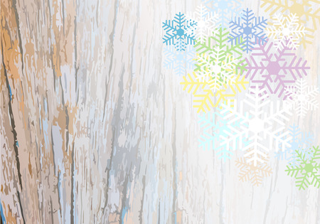 wooden plank: Pattern of wooden plank background with colorful snowflake Illustration