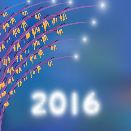 blinking: 2016 Happy new year greeting card,Cerebration background with grass flower and blinking light