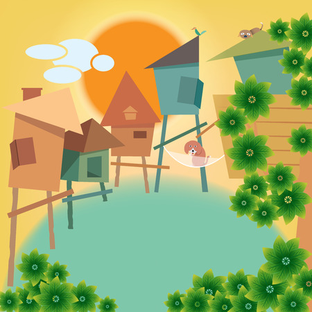 yellow sky: Warm village and cute animal with yellow sky and big sun background for greeting card Illustration