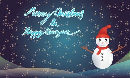 happy newyear: Merry christmas and happy newyear typography greeting card with snowman on blue background