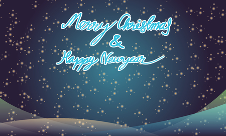 happy newyear: Merry christmas and happy newyear typography greeting card on blue background