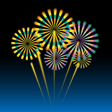 fire works: Beautiful fireworks on dark blue background Illustration