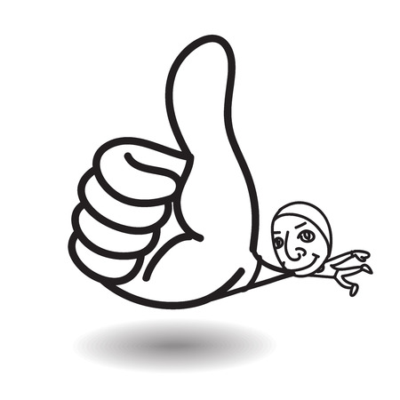 admire: Man show big thumb up while floating,highly congrate or admire Illustration